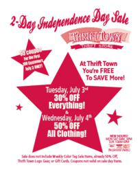 Thrift Town's 2-Day Independence Day Sale
