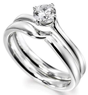 Bridal Setround Cut Engagement Ring With Matching Shaped Wedding
