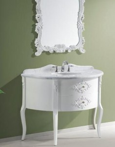 A Selection Of Dainty White Bathroom Vanities That Emulate Victorian Dressing Tables Is