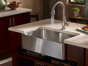 Gentil Satin Nickel Faucet And Stainless Steel Farmhouse Sink Form Artisan ...
