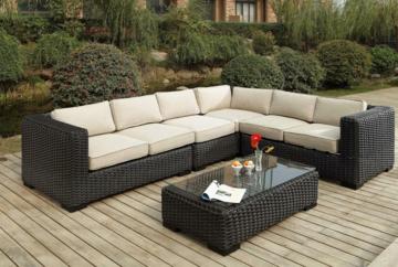 Elegant Metropolitan Wicker Sectional Sofa Set ...
