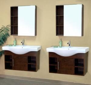 Double Wall Mounted Spa Style Bathroom Vanities