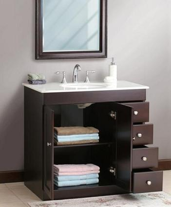 a guide to small bathroom solutions along with a selection
