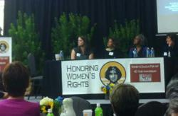 Honoring Women's Rights Confernence panel with Sandra Fluke, Linda Bynoe, Jane Schonberg and Emilia Fuentes Grant