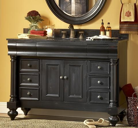 a selection of bathroom vanities with weathered finishes