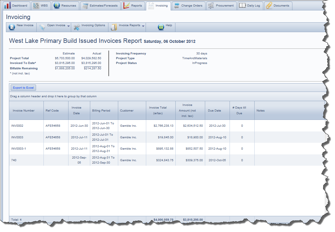 issued invoices reportmany reports and charts show billed to date details with billable remaining and currently billable construction