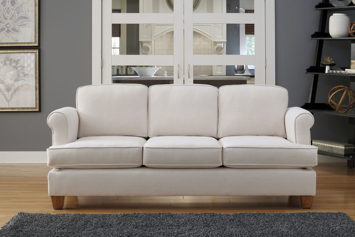 All Simplicity Sofas Are Designed To Fit Through Doors And Stairways As Narrow 15 Megan Sofa With Box T Cushion Option In Satchi Ivory Fabric