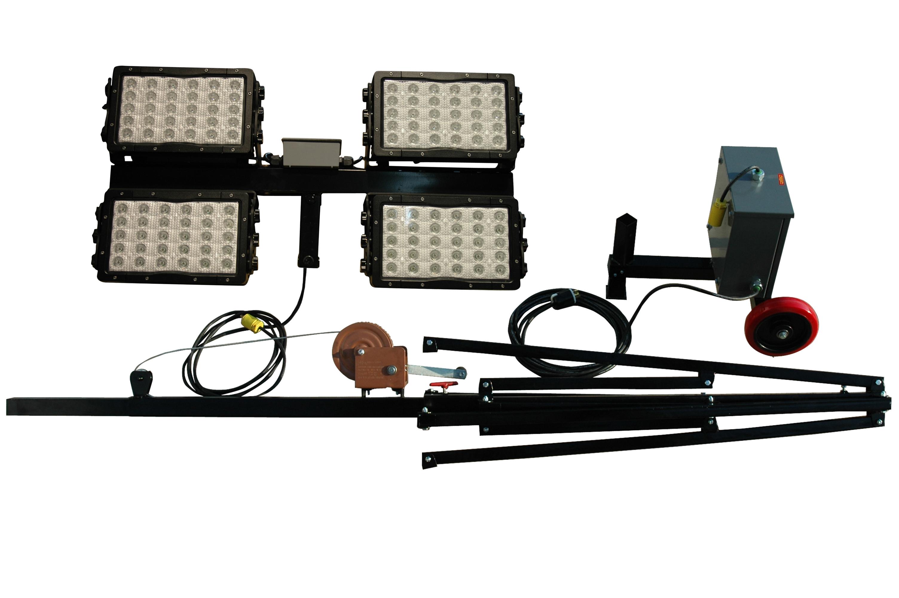 Work Site Lighting Waterproof Portable 600 Watt LED Light Tower600 Watt LED  Waterproof Lights On Light Weight Aluminum Quadpod