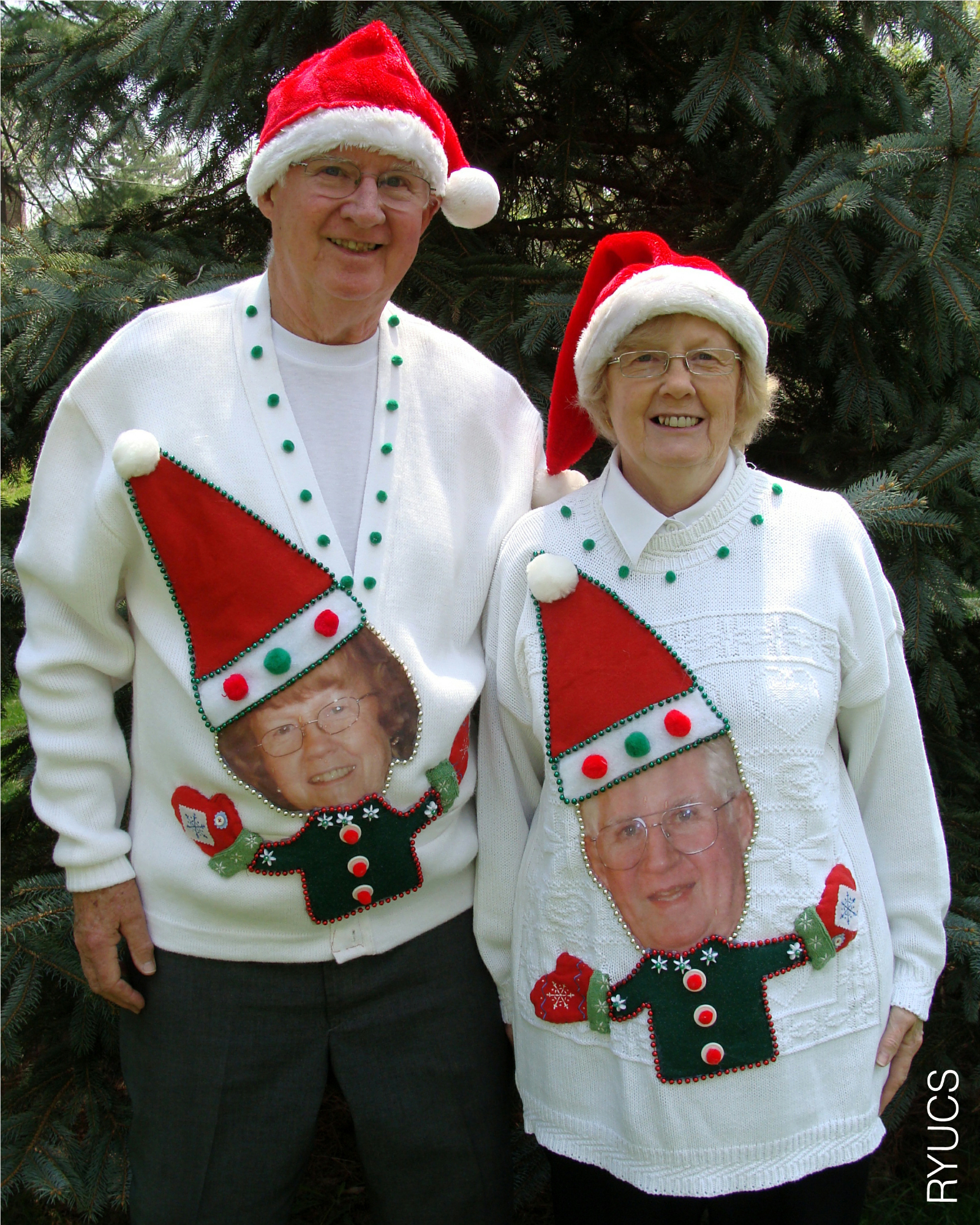grandparents wearing funny custom made ugly christmas sweaters are featured in the hilariously funny book rock your ugly christmas sweater - Homemade Tacky Christmas Sweaters