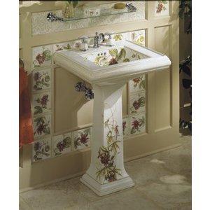 KOHLER, K 14226 TC, Crimson Topaz Design On Memoirs, Pedestal Lavatory With  Classic Design, ...