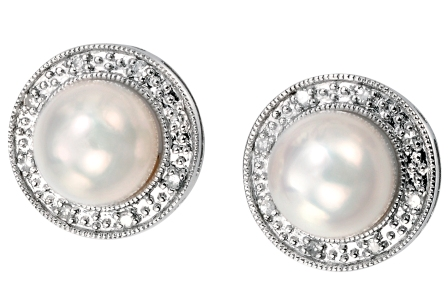 Pearl Studs With Diamond Haloavailable Online