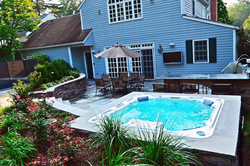Ridgewood nj swimming pool landscaping renovation wins award for Landscape design for pool areas