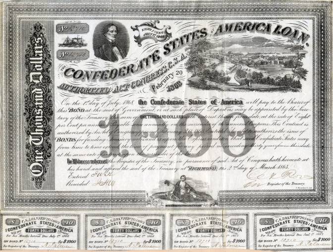 Scripophily com offers Authentic Confederate States of