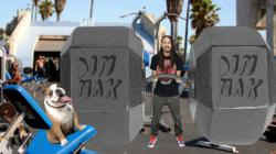 Steve Aoki & His Talented Pup Coco at Muscle Beach