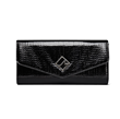 Jill Milan New Canaan Clutch in black textured faux patent