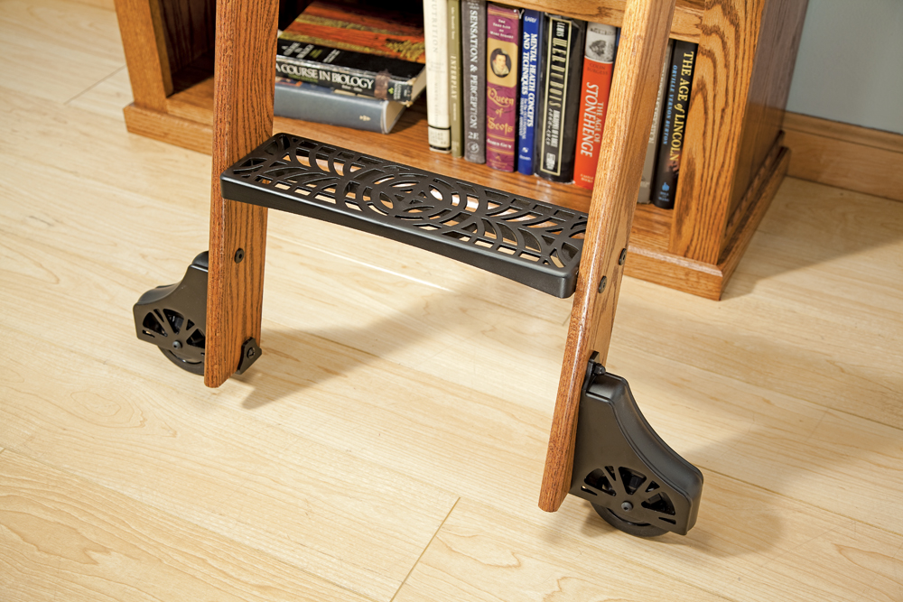 Rockler Adds New Cast Steps To Deluxe Rolling Library Ladder Kits Feature Clic Vintage Look