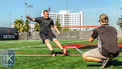 Havard Rugland training with kicking coach Michael Husted