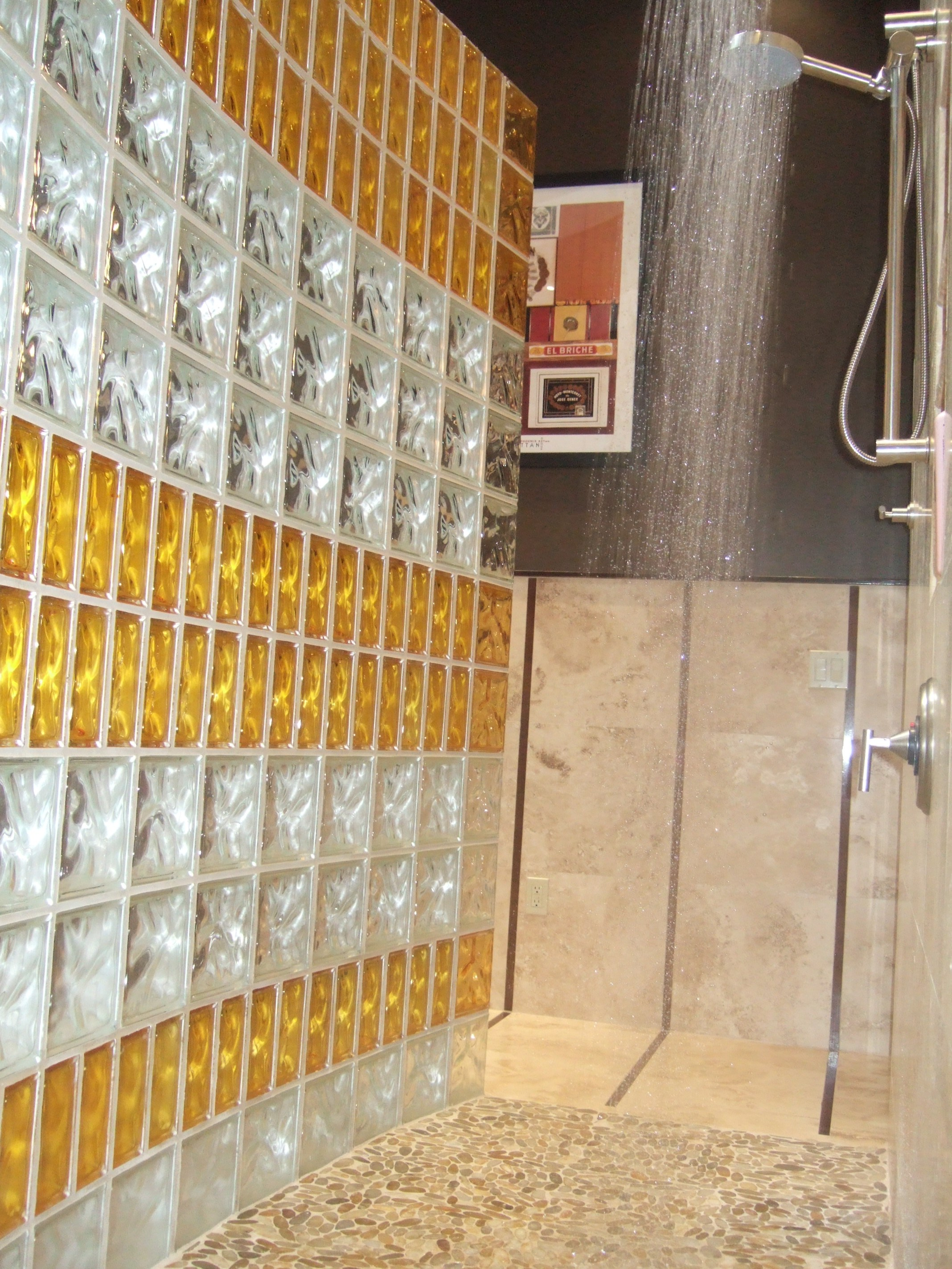 Colored Glass Block Shower Using Both 8 X 8 And 4 X 8 Sizes ...