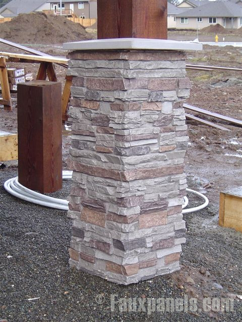 Stacked Stone Columns : Motley gray is the newest color option from fauxpanels