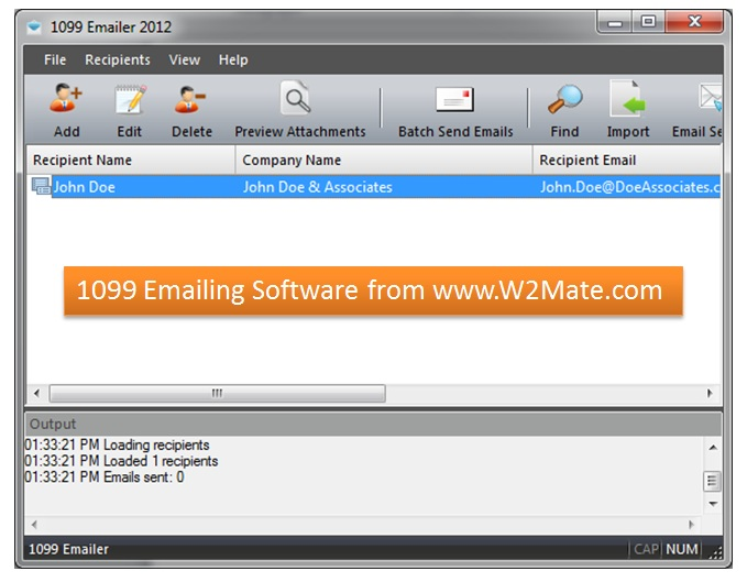 1099 emailing software from wwww2matecomsoftware to email w2s and 1099s from w2matecom