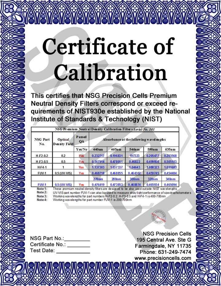 Nsg precision has perfected the wavelength accuracy calibration standard sample nsg calibration certificate yadclub Gallery