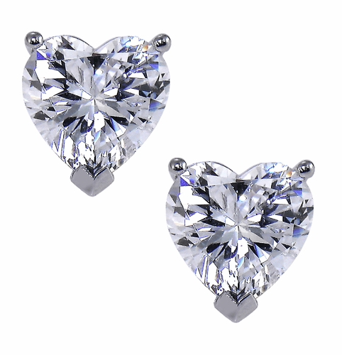 Heart Shape Cubic Zirconia Stud Earrings In 14k Gold By Ziamondcz Shaped Studs Ziamond Set