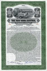 New York Central $1000 Bond Certificate - 1913