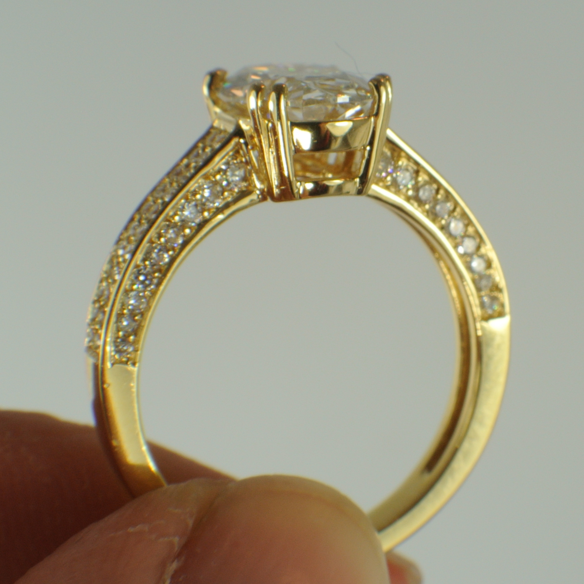 Oval Engagement Ring Side View