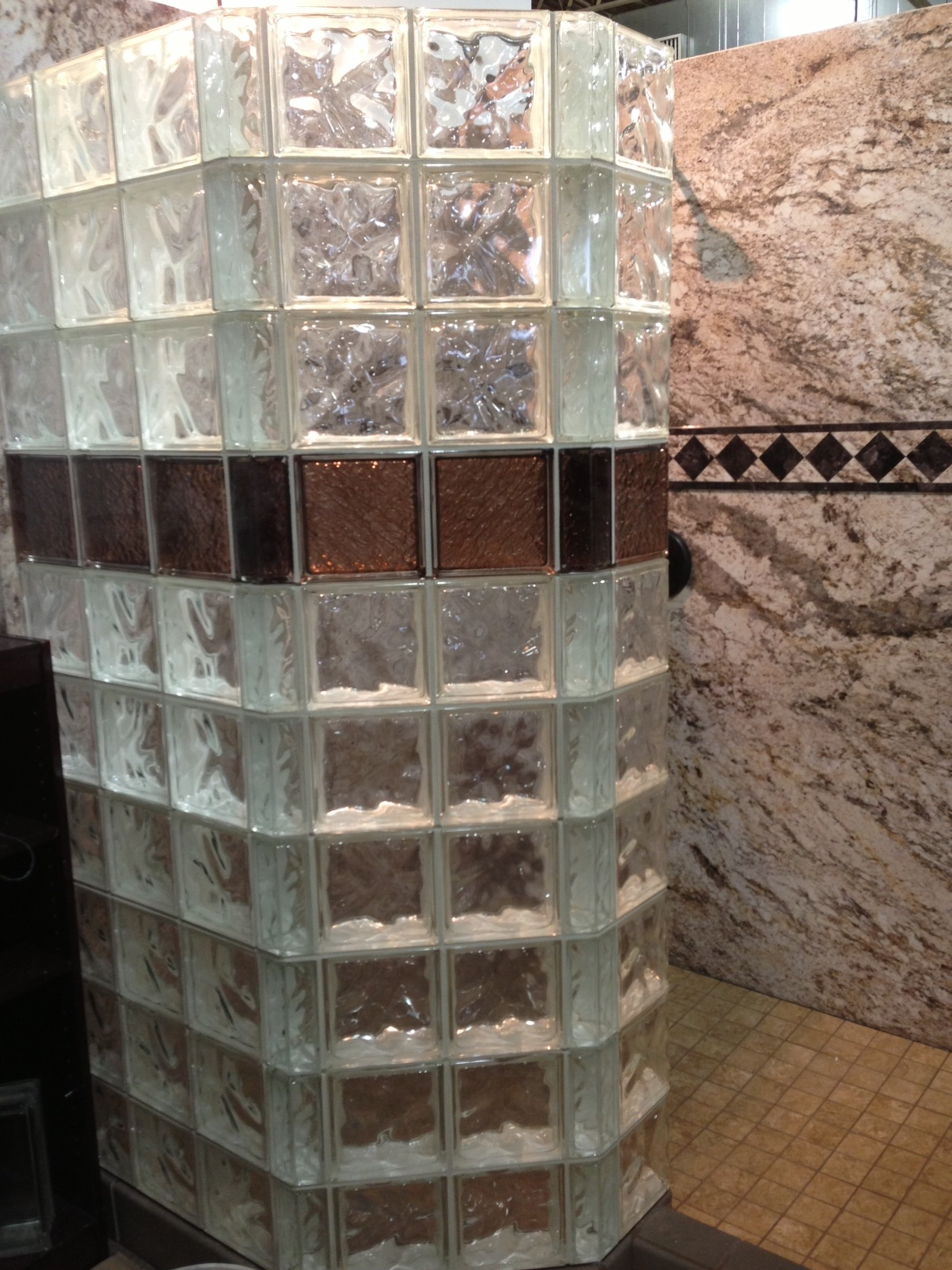 Decorative Colored Glass Block Shower With Decora And Icescapes Patterns At  Central Ohio Home And Garden Show