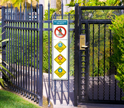 Clarion's pool safety sign system product line includes signs for front gates, tabletop placards, signs for locker rooms, signs for use at poolside and safety cones.