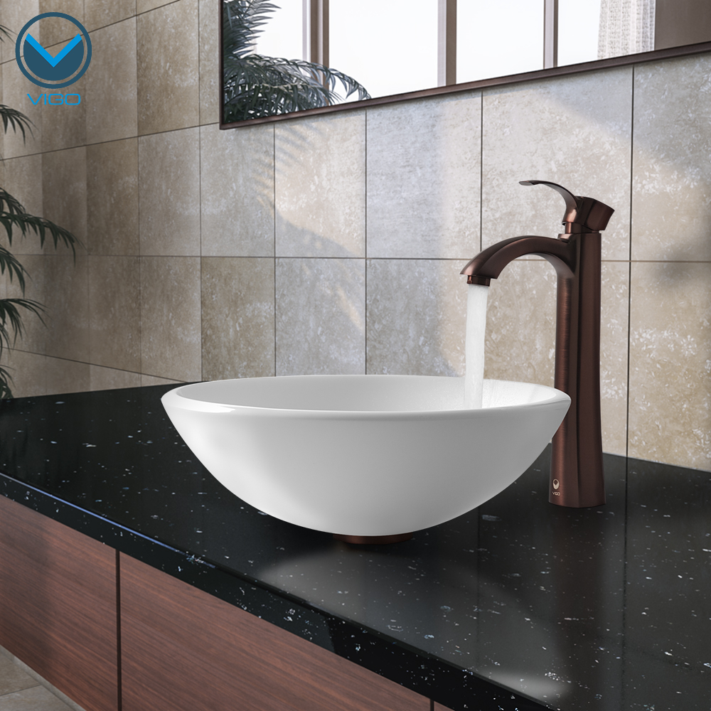 Combine A White Vessel Bowl With An Oil Rubbed Bronze Faucet For Eclectic Look Vg07039 Vigo Phoenix Stone Gl Bathroom Sink