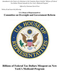 Cover of the House Report on New York Medicaid fraud, waste, and abuse