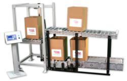 DynaCon conveyors make up part of the over under box filling systems by Dynamic Conveyor
