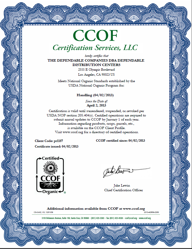 The Dependable Companies Announces Receipt Of Coveted CCOF ...