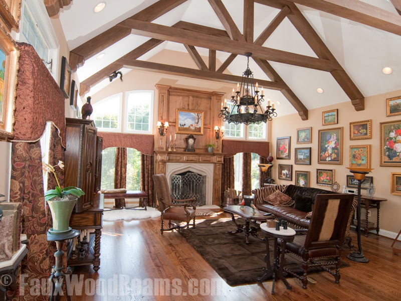 Fake Wood Beams Fill A Vaulted Ceiling E With Elegancefaux Pull Together Great Room Design