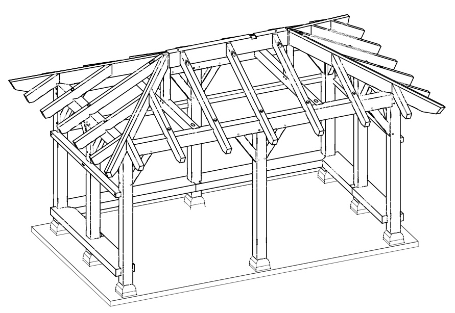 A timber frame pavilion by new energy works timberframers for Pavilion blueprints