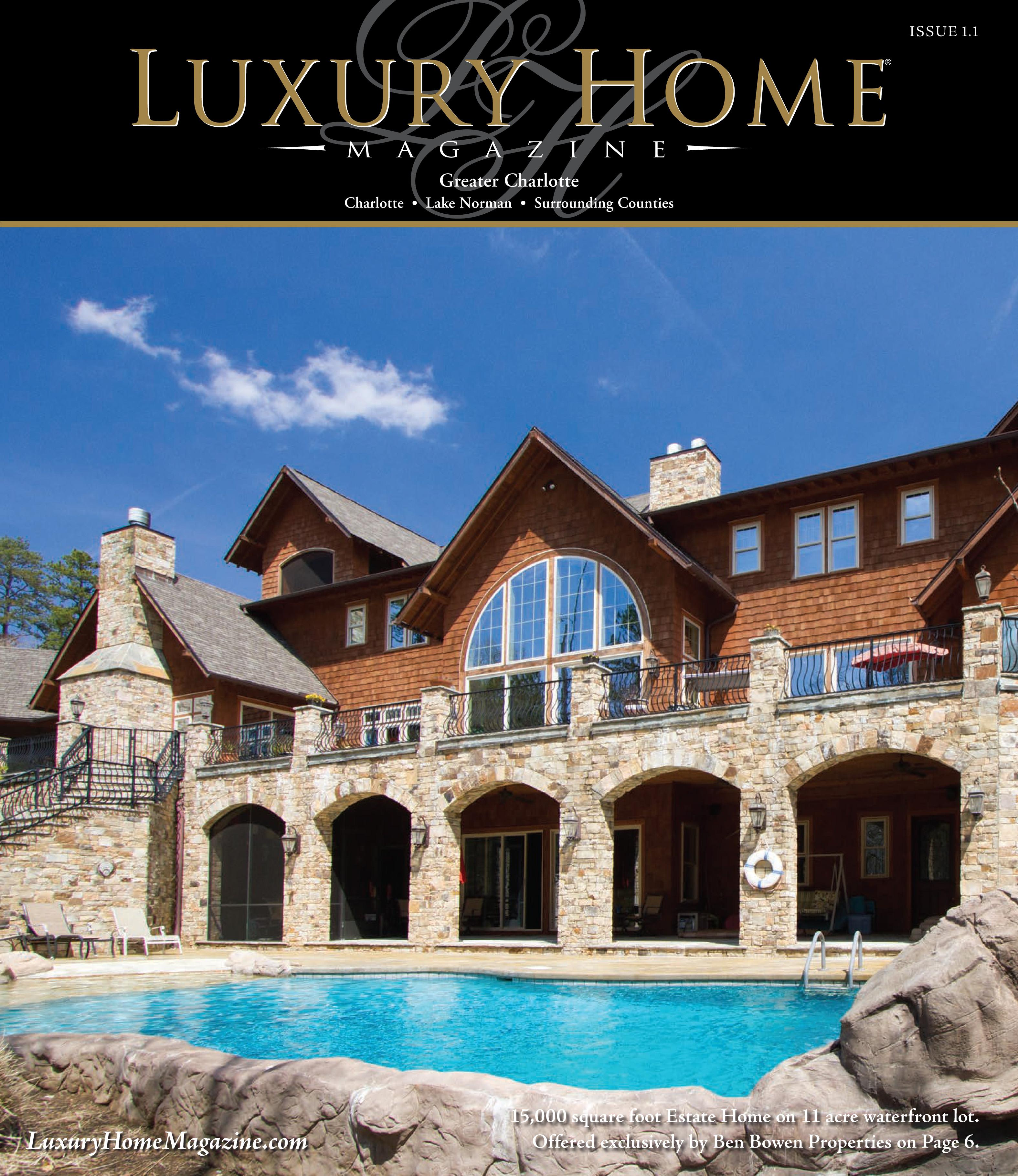 Wonderful Luxury Home Magazine CharlotteFront Cover Of Luxury Home Magazine Greater  Charlotte Issue 1.1