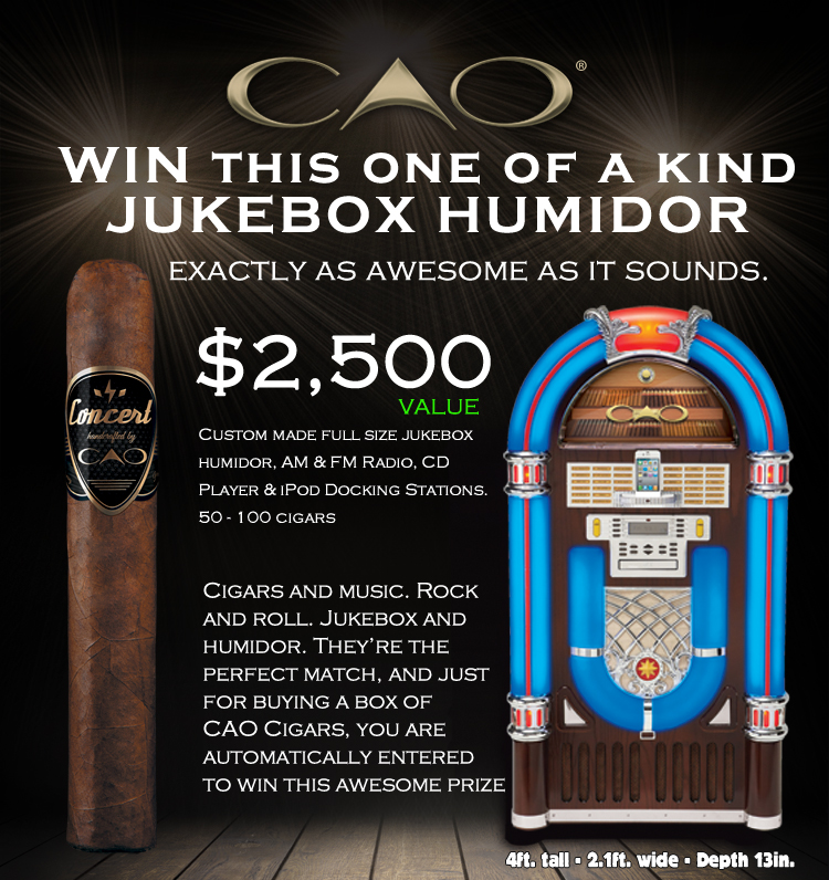 mike and mike sweepstakes jukebox humidor giveaway from cao and mike s cigars 6225