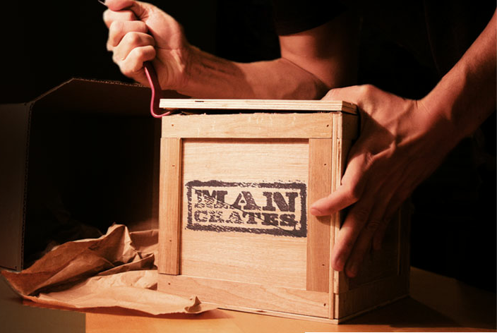 Man Crates Army Style Wooden Packed With Gear Gadgets And Grub That Can Be Pried Open Crow Bar IncludedMan Gift Boxes Complete
