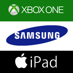 Samsung, Xbox and iPad logos