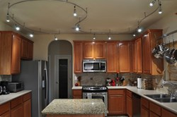 A Residential Kitchen Installation Of The Flex Ii Led Track Lighting System Customized With 12 Spotlight Fixtures
