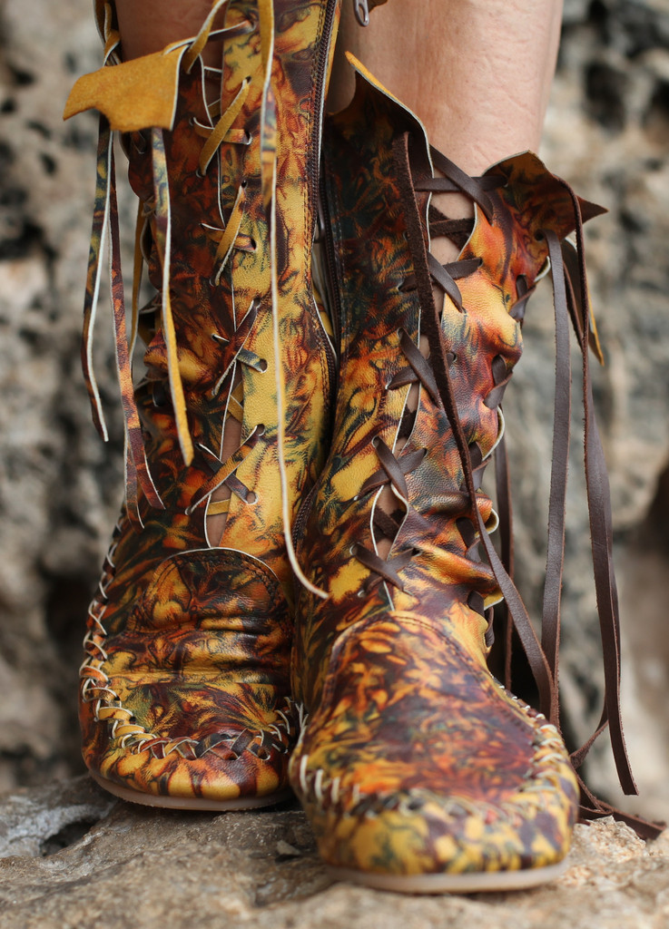 gipsy dharma releases a new range of funky leather skirts and ankle boots
