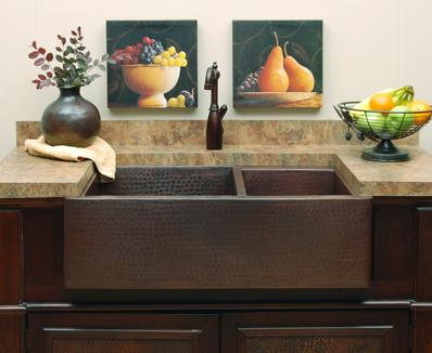 Sierra Copper   Sierra Copper Hampton Farmhouse Sink 60/40 Double Bowl,  SC HD64 33 ...