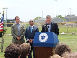 "t Solar CEO Phil Cavallo speaking at ""5 Years Green Celebration"" with Gov. Deval Patrick."