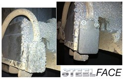 With its unique slag resistant coating, weld spatter can be easily wiped off the Balluff SteelFace sensor
