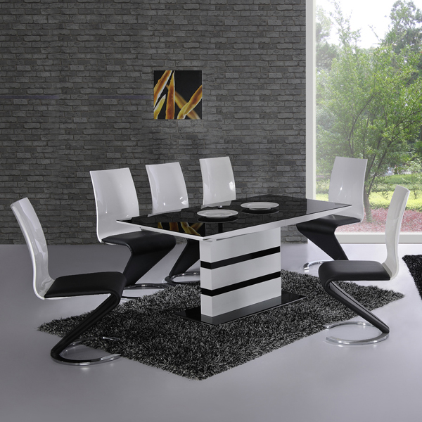furnitureinfashion is offering very affordable arctic white Black Glass Dining Table