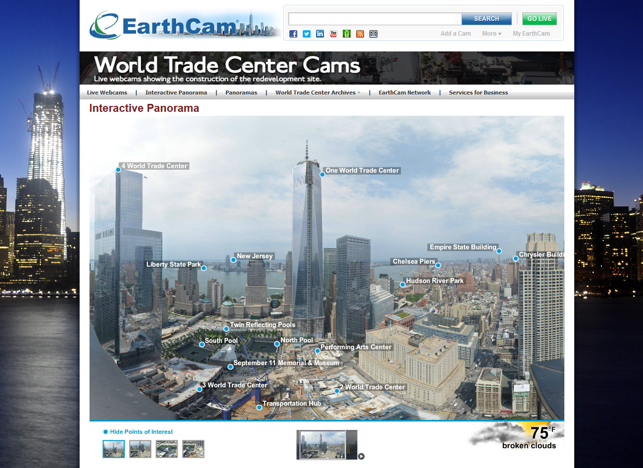 Earthcam premieres new world trade center time lapse movie to this interactive panorama points out city buildings and landmarks visible from earthcams webcam at the world trade center site gumiabroncs Gallery