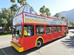 photo of Modernism Week's famous Double Decker Bus Architectural Tours