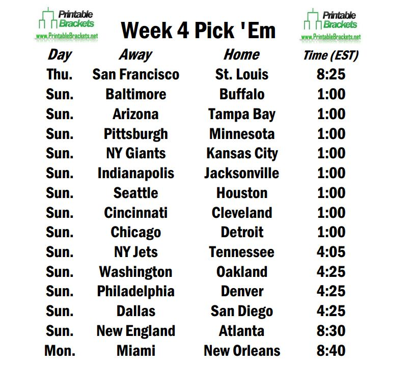 It's just a picture of Nfl Pick Em Printable within week 4