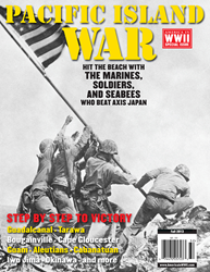 US marines raise the flag on Iwo Jima's Mount Suribachi on February 23, 1945, in the famous photo by Joe Rosenthal--seen here on the cover of PACIFIC ISLAND WAR.